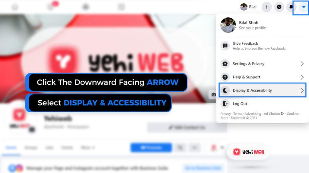 click downward facing arrow facebook yehiweb