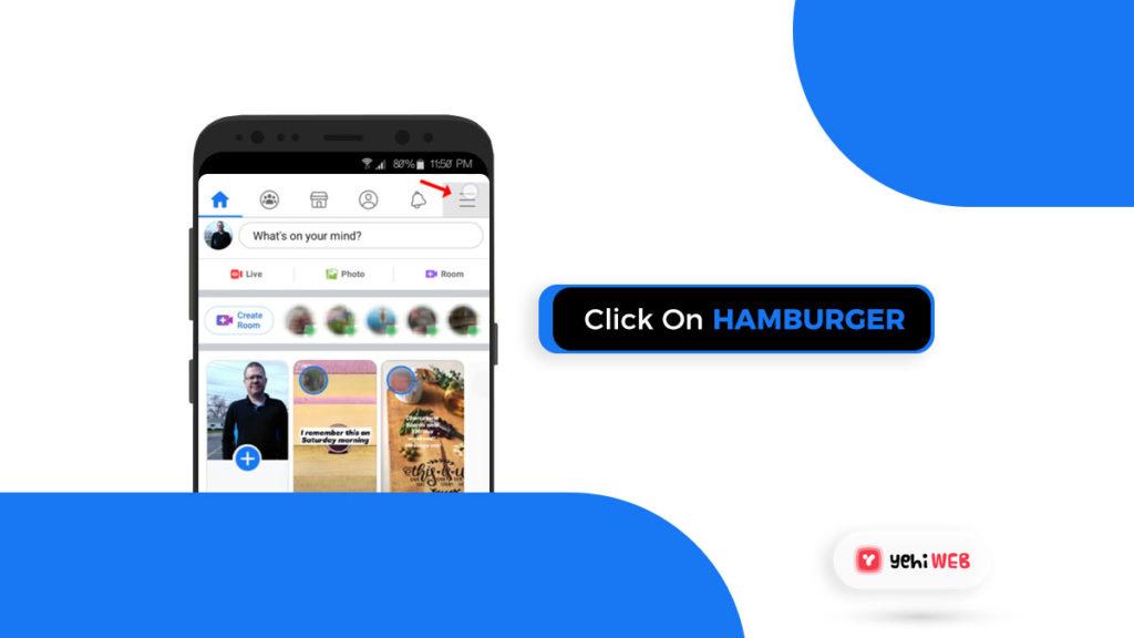 click on hamburger facebook yehiweb