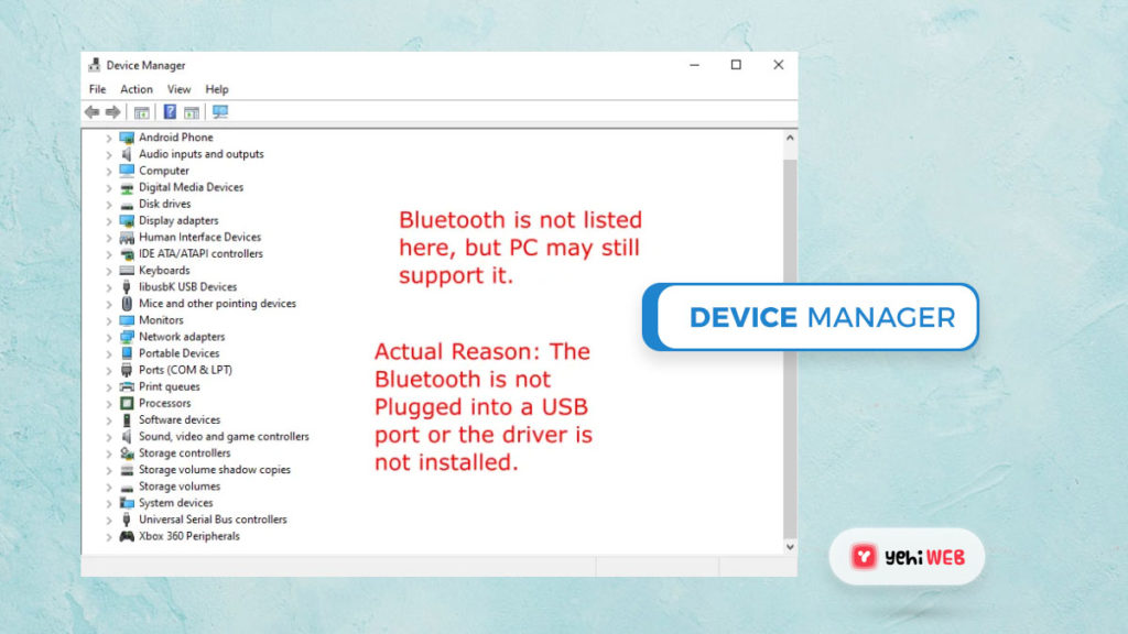 device manager bluetooth yehiweb